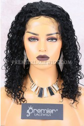 Clearance Silk Top Full Lace Wig,Curly,Water Wave,Indian Remy Hair,1# Color,14 inches,120% Density,Small Cap Size
