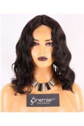 Clearance Silk Part Wigs,Wavy Bob,Indian Remy Hair,14inches,1# Color,Middle Part,150% Density,Medium Size