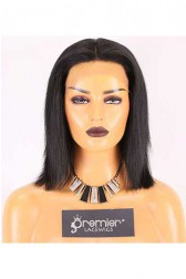 Clearance Lace Front Wig,Indian Remy Hair,Yaki,1# Jet Black,8 inches,150% Density,Average Size, Medium Brown Lace