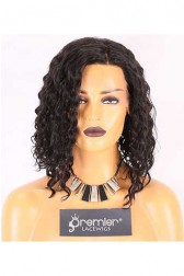 Clearance 4.5'' Lace Front Wig,Curly Bob,Indian Remy Hair,Natural Color,12 inches,150% Density,Average Size,Medium Brown