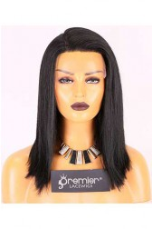 Clearance Right C Part Lace Part Wig,Indian Remy Hair 1# Color,16 inches Yaki Straight 130% Density, Medium Size,Medium Brown Lace