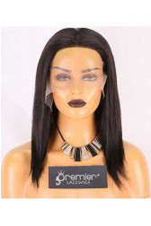 Clearance Lace Front Wig,Indian Remy Hair,Light Yaki,1B#,12 inches,130% Density,Average Size, Medium Brown Lace