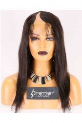 Clearance U-part Wig,Right Part,Indian Remy Hair,Natural Straight,Natural Color,16 inches,130% Density,Average Size, Medium Brown Lace
