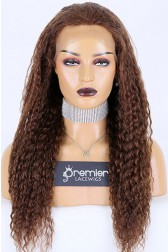 Average Size Kinky Curl Full Lace Wig Indian Remy Hair 20 inches 4# Brown,130% Normal Density, Light Brown Lace