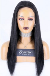 Average Size Light Yaki Full Lace Wig Indian Remy Hair 18 inches 1# Jet Black,130% Normal Density, HD Transparent Lace