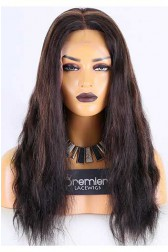 Clearance Full Lace Wig,Indian Remy Hair,Natural Straight,1B# Highlight 30#,18 inches,120% Normal Density,Medium Size,Light Brown Lace