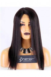 Clearance Silk Part Wigs,Yaki Straight,Indian Remy Hair,14inches,2# Color,Right Part,130% Density,Medium Size