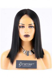 Clearance Silk Top Lace Front Wig,Yaki Bob,1B# 14 inches,180% Thick Density,Average Size, Medium Brown Lace