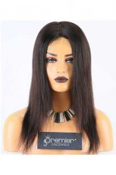 Clearance Glueless Silk Top Full Lace Wig,Straight,Brazilian Virgin Hair,Natural Color,14 inches,120% Density,Medium Cap Size