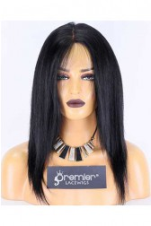 Clearance Full Lace Wig,Brazilian Virgin Hair,Silky Straight,1#,14 inches,130% Normal Density,Medium Size,Light Brown Lace