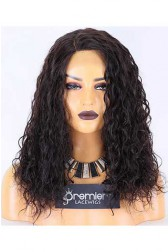 Clearance Lace Front Wig,Indian Remy Hair,Wet Wavy,Natural Color,16 inches,150% Density,Average Size, Medium Brown Lace