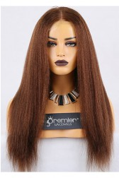 Clearance Full Lace Wig,Kinky Straight,100% Human Hair,4# Color,120% Normal Density,Light Brown Lace