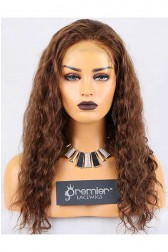 Clearance Full Lace Wig,Deep Body Wave, Indian Remy Hair,4# Color,18 inches,120% Normal Density,Medium Cap Size,Adjustable Strap