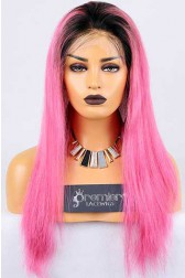 Clearance Full Lace Wig Straight,Chinese Virgin Hair,Ombre Pink Color,18 inches,120% Normal Density,Medium Cap Size,Light Brown Lace