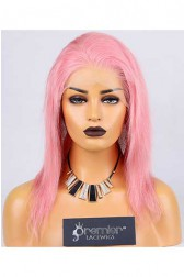 Clearance Full Lace Wig Straight,Chinese Virgin Hair,Pastel Pink Color,12 inches,120% Normal Density,Medium Cap Size,Light Brown Lace