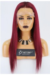 Clearance 4.5'' Lace Front Wig,Indian Remy Hair,Red Color,18 inches,Straight,130% Density,Average Size, Medium Brown Lace