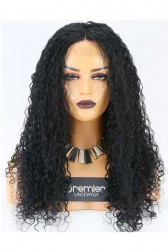 Clearance Lace Front Wig,Indian Remy Hair,1# Jet Black,Water Wave,22 inches,120% Density,Average Size, Medium Brown Lace