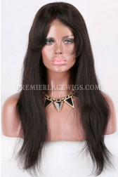 Clearance Glueless Lace Front Wig,Natural Color,Straight Hair With Bangs,Indian Remy Hair,Small Cap Size,18inches,130% Density