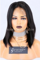 Clearance 360 Lace Front Wig,Yaki Bob Cut,Virgin BrazilianHair,12 inches,1B# Color,Medium Cap Size,150% Density.Pre-plucked Hairline