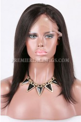 Clearance Glueless Lace Front Wig,Natural Color,Yaki Straight Bob With Bangs, Indian Remy Hair,Medium Cap Size,130% Density