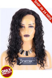 Super Deal 18 inches Lace Front Wig Loose Curl Indian Remy Hair, 1B#, Average Size, 130% Normal Density,Medium Brown Lace