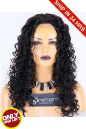 Super Deal 20 inches Lace Front Wig Deep Wave Indian Remy Hair, 1B#, Average Size, 130% Normal Density,Medium Brown Lace