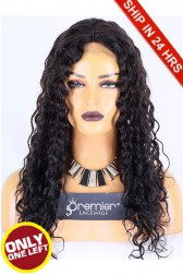 Super Deal 20 inches Lace Front Wig Big Curl Indian Remy Hair, 1B#, Average Size, 130% Normal Density,Medium Brown Lace
