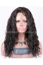 Clearance Full Lace Wig,Chinese Virgin Hair,25mm Curl,1B#,16 inches,120% Normal Density,Large Size,Light Brown Lace
