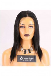 Clearance Full Lace Wig,Yaki Straight,Indian Remy Hair,1# Color,12 inches,120% Normal Density,Large Cap Size,Light Brown Lace