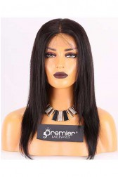 Clearance Lace Front Wig,Chinese Virgin Hair,1B# Color,Silky Straight,14 inches,150% Thick Density,Small Size, Medium Brown Lace