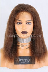 Clearance Full Lace Wig,Kinky Straight,Indian Remy Hair,4#,14 inches,120% Density,Small Cap Size,Light Brown Lace With Adjustable Strap And Combs