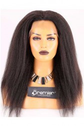 Clearance 360 Lace Front Wig With 4*4 Silk Top,Kinky Straight,Indian Remy Hair,Natural Color,16 inches,180% Thick Density,Medium Cap Size,Dark Brown Lace