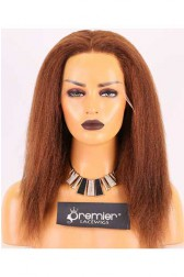 Clearance HD Lace 6'' Part Lace Front Wig,Indian Remy Hair,4# Color,14inches,Kinky Straight,150% Normal Density,Medium Brown Lace.Medium Size