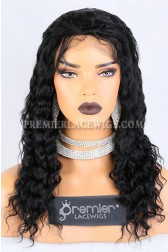 Clearance Silk Top Full Lace Wig,Deep Wave,Indian Remy Hair,1# Color,16 inches,120% Density,Medium Cap Size