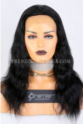 Clearance Glueless Full Lace Wig,Natural Wavy,Indian Remy Hair, 1# Color,16 inches,150% Thick Density,Medium Cap Size