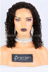 Clearance Full Lace Wig,Curly,Indian Remy Human Hair,Natural Color,14 inches,120% Density,Medium Cap Size