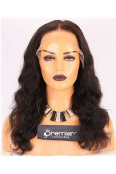 Clearance 6'' Lace Frontal Wig,Wavy,Indian Remy Hair,Natural Color,16 inches,150% Density,Medium Cap Size,Medium Brown Lace