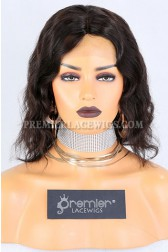 Clearance Silk Top Full Lace Wig,Wavy Bob,Indian Remy Hair,Natural Color,10 inches,120% Density,Small Cap Size