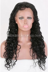 Clearance Glueless Silk Top Full Lace Wig,Brazlilian Curl,Indian Remy Hair,1# Color,22 inches,120% Density,Small Cap Size