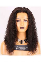 Clearance Full Lace Wig,Water Wave,Indian Remy Hair,Natural Color,18 inches,120% Normal Density,Small Cap Size,Light Brown Lace