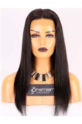 Clearance 6'' 360 Lace Frontal Wig,Silky Straight,Indian Remy Hair,1B# Color,16 inches,150% Density,Medium Cap Size