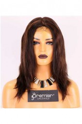 Clearance Full Lace Wig,2H4# Highlight Color,Indian Remy Hair,12 inches,130% Density,Natural Straight,Average Cap Size
