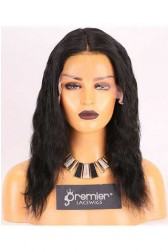 Clearance Affordable Full Lace Wig,Indian Remy Hair 1#,12 inches Deep Body Wave,120% Density, Medium Size,Medium Brown Lace