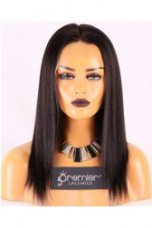 Clearance Affordable Full Lace Wig,Indian Remy Hair 1B#,14 inches Yaki Straight,130% Density, Medium Size,Medium Brown Lace