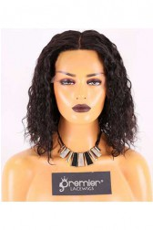 Clearance 4.5'' Lace Front Wig,Loose Curly Bob,Indian Remy Hair,1B# Color,12 nches,150% Density,Average Size,Medium Lace