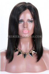 Clearance Glueless Deep Part  Lace Front Wig,Natural Color,Italian Yaki Bob,Indian Remy Hair,Medium Cap Size,160% Density