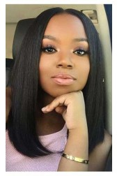 Silky Straight Indian Remy Hair Lace Wig,Long Bob Blunt Cut, Improved 360°Anatomic Lace Wigs,150% Thick Density ,Pre-Plucked Hairline