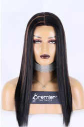 "Silk Top Full Lace Wig Indian Remy Hair Light Yaki,18 inches 1B/30# Highlights Color Medium Cap Size 22.5"", Medium Brown Color Silk Top, 120% Normal Density"