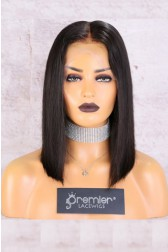 "13""x4.5"" Lace Frontal Wig,Middle Part Silky Straight Bob,150% Thick Density [Pre-Bleached Knots,Pre-Plucked Hairline,Removable Elastic Band]"