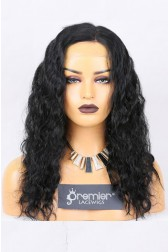 Clearance Full Lace Wig,Indian Remy Wavy Hair,1#,18 inches,120% Normal Density,Medium Size,Medium Brown Lace